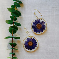 Blue Daisy Rounds with hoops