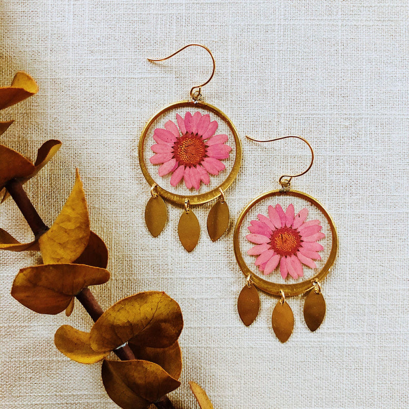 Medium Pink Daisy with Dangles