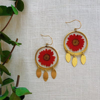 Medium Red Daisy Blossom Dangles
