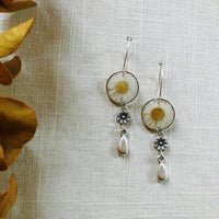 Small White Daisy with Floral Teardrop Dangles