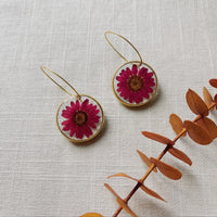 Small Magenta Daisy Rounds with hoops