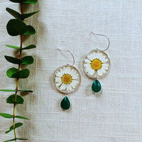 White Daisy with Emerald Quartz Dangle