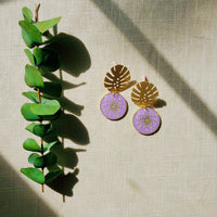 Pink Queen Anne's Lace with Monstera Leaf Post Earrings
