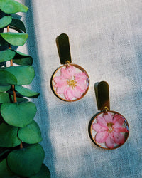 Pink Larkspur with semi-rectangular Stud Earrings