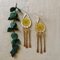 Yellow Queen Anne's Lace silver teardrops with dangles