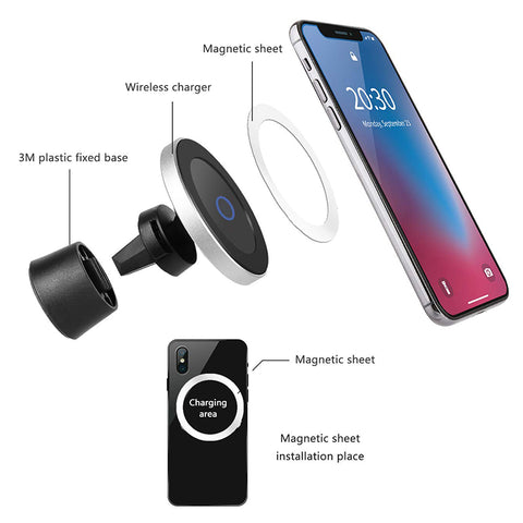 Fast Car Wireless Charger with Magnetic Phone Holder