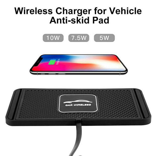 10W 2in1 Non-slip Silicone Mat Car Dashboard Holder Stand Fast Charging Qi Wireless Charger Dock Station Pad for iPhone Samsung
