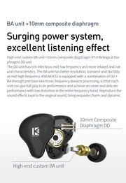 2020 KBEAR KS2 Hybrid DD+BA In ear earphone With 0.78mm pin TFZ earbud Hifi Sport Running