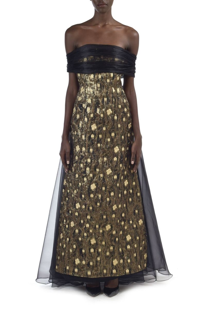 Black & Gold Jaquard & Organza Gown - BYTRIBUTE