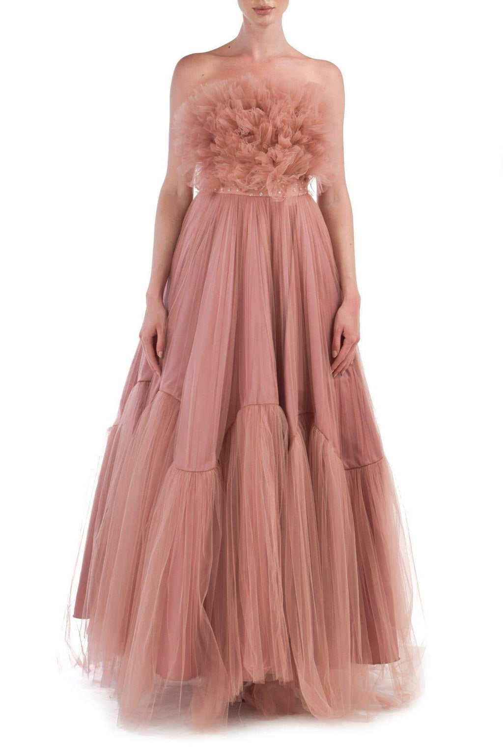 Pink Ruffled Tulle Gown - BYTRIBUTE