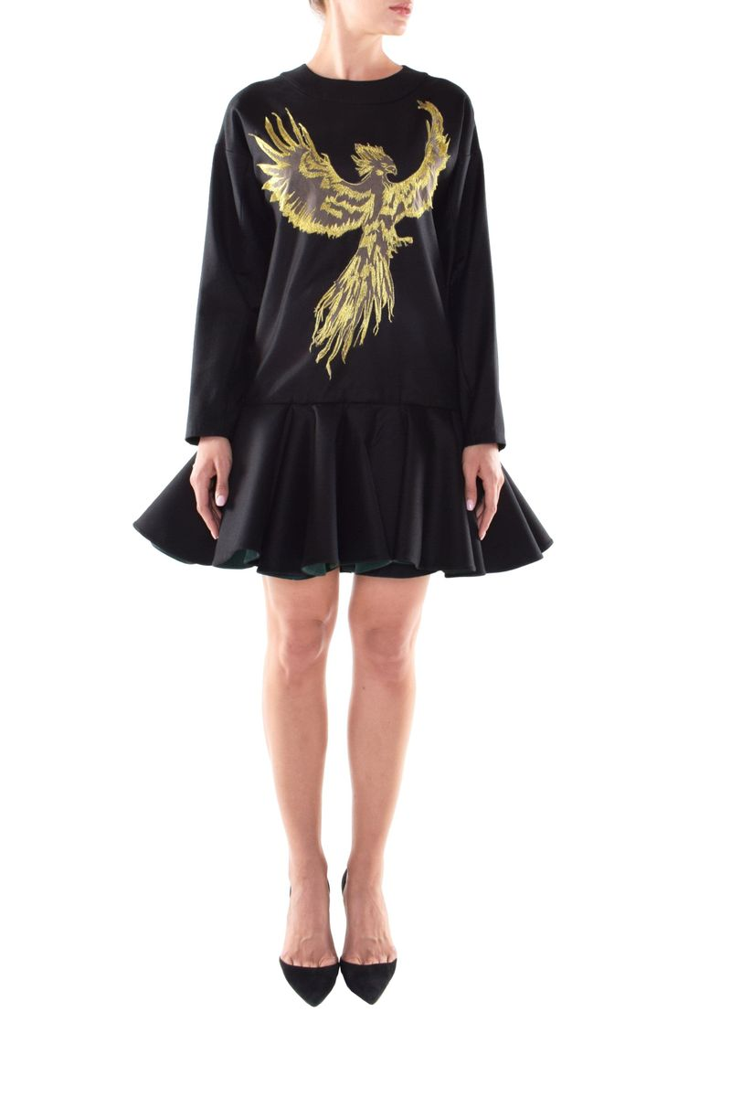 Eagle Short Embroidered Black Dress - BYTRIBUTE