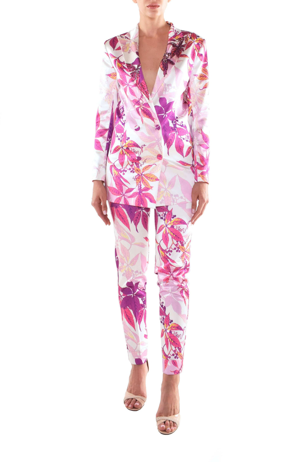 Floral Satin Suit - BYTRIBUTE