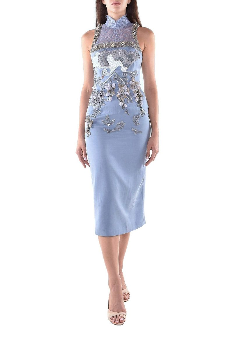 Blue Satin Midi Dress - BYTRIBUTE