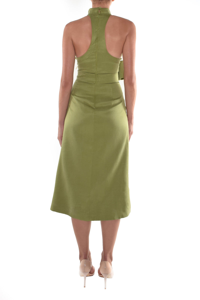 Picturesque Olive Green Satin Midi Dress - BYTRIBUTE