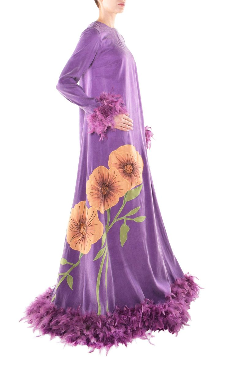 Floral Feather Purple Long Satin Dress - BYTRIBUTE