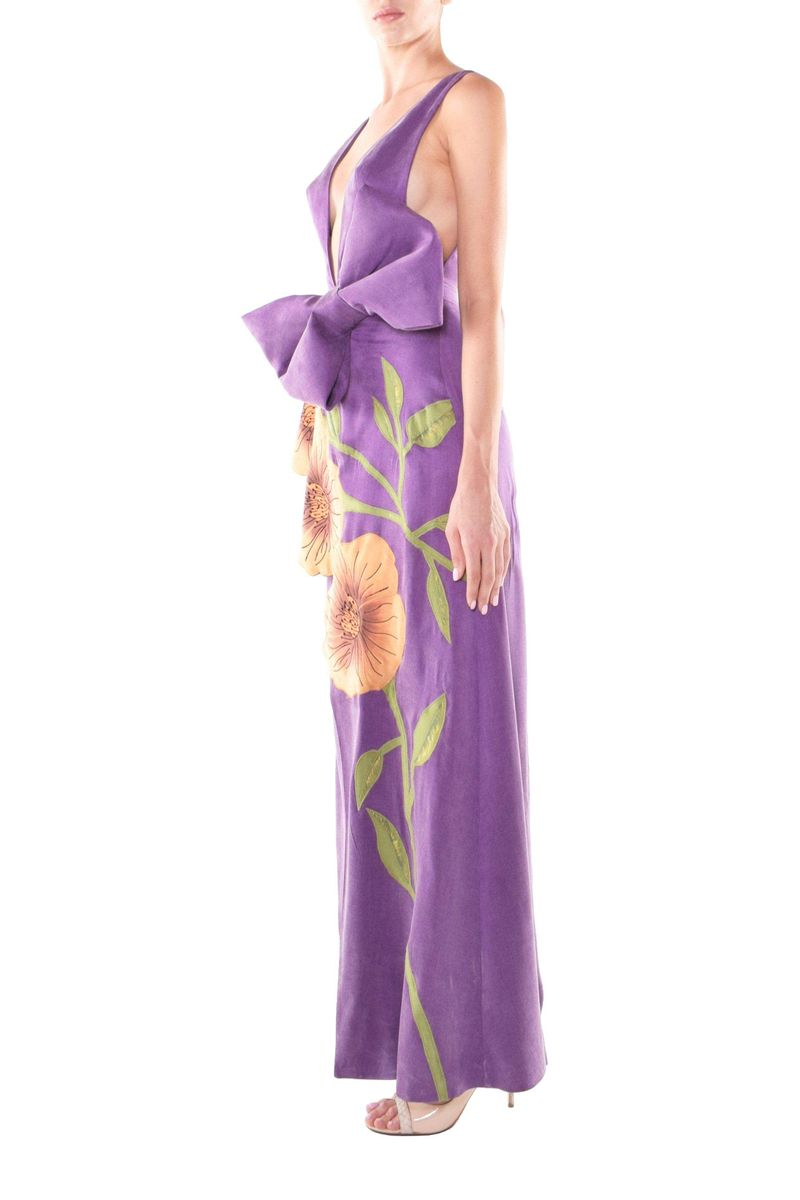 V-Neckline Bold Floral Satin Dress - BYTRIBUTE