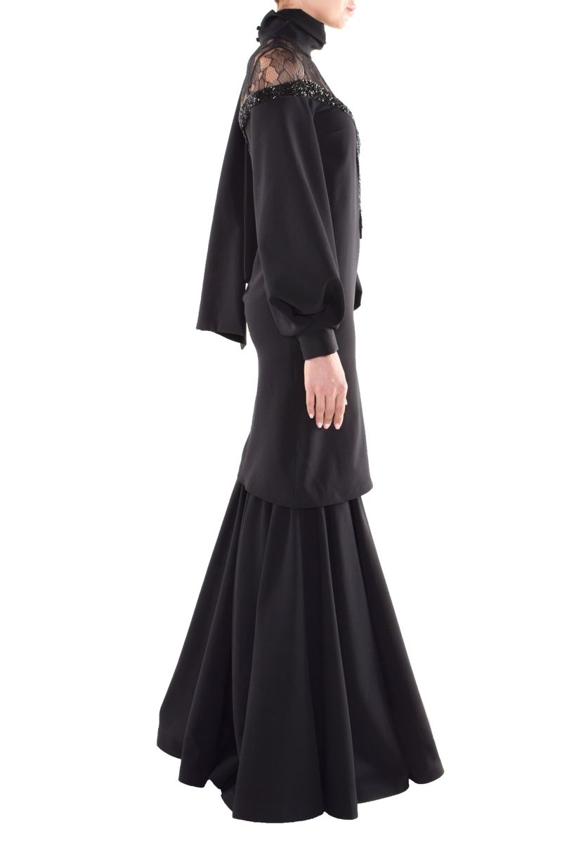 Long Black Crepe Dress - BYTRIBUTE