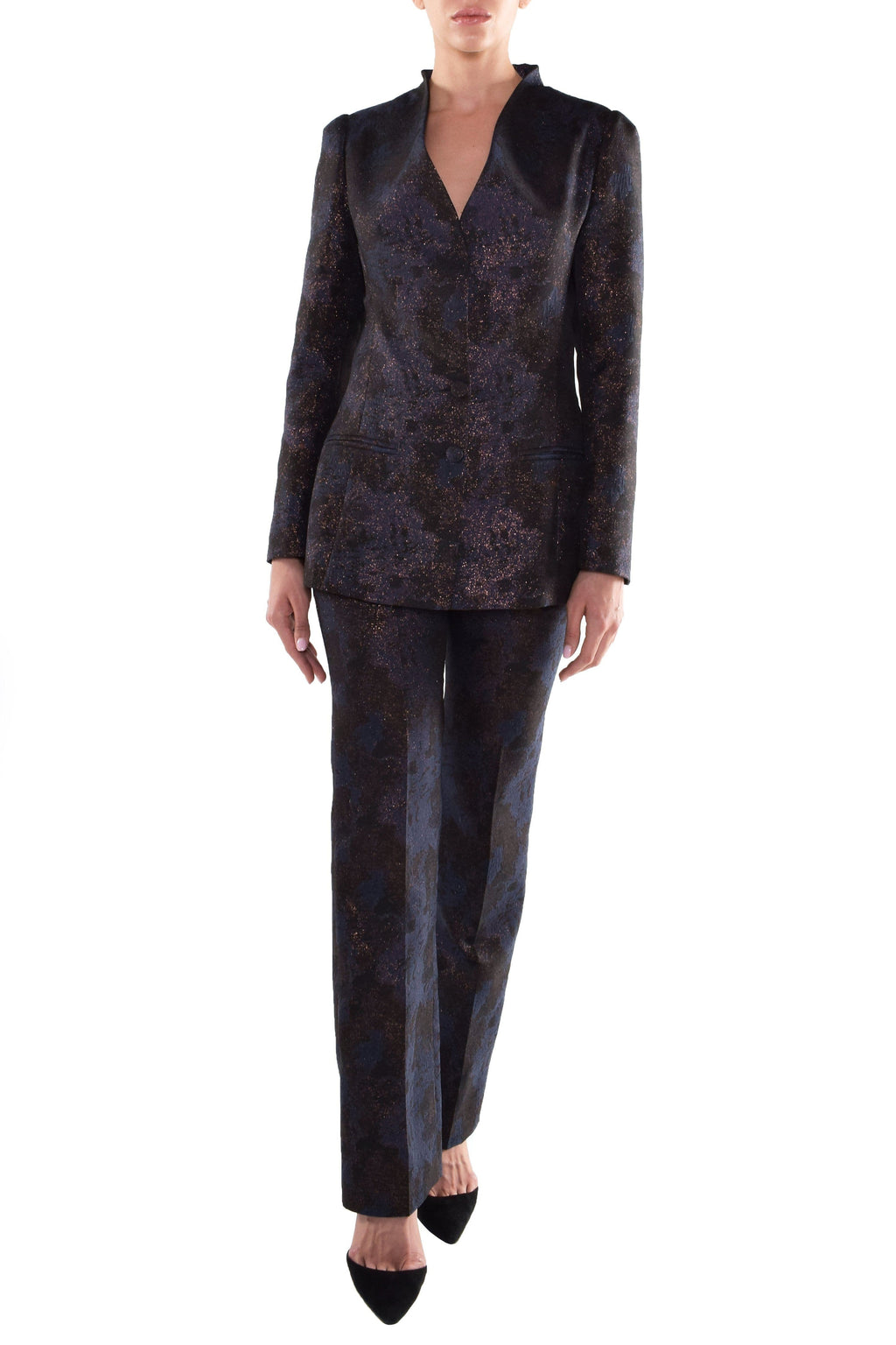 Navy Glittery Pants & Jacket Suit - BYTRIBUTE