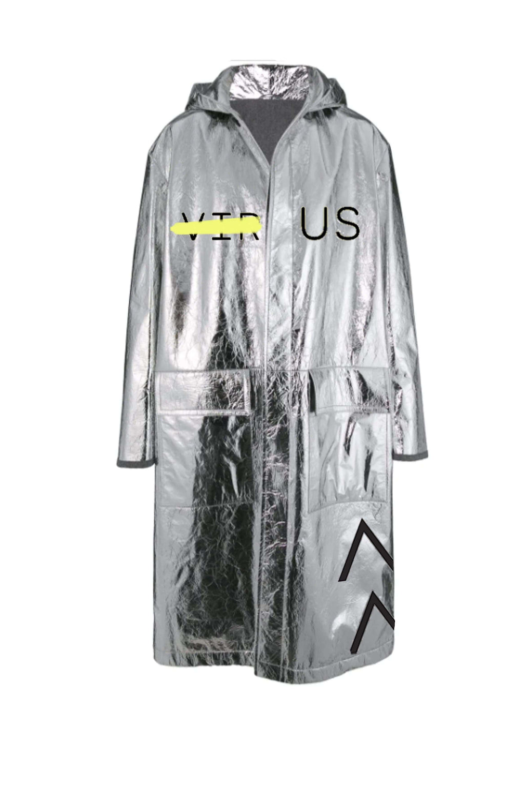 Silver Raincoat With Front Flap Pockets - BYTRIBUTE