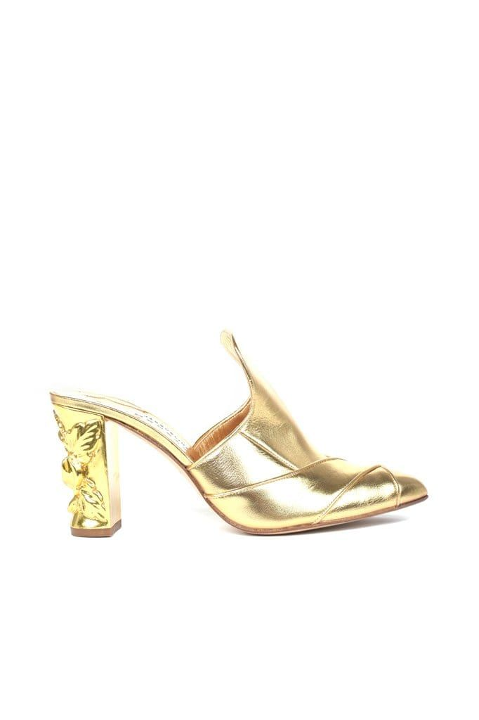 Cano Gold Leather Pump - BYTRIBUTE