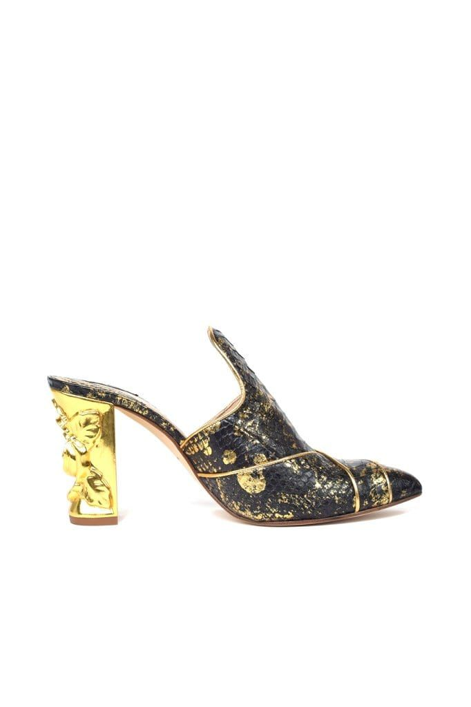 Cano Black & Gold Python Pump - BYTRIBUTE