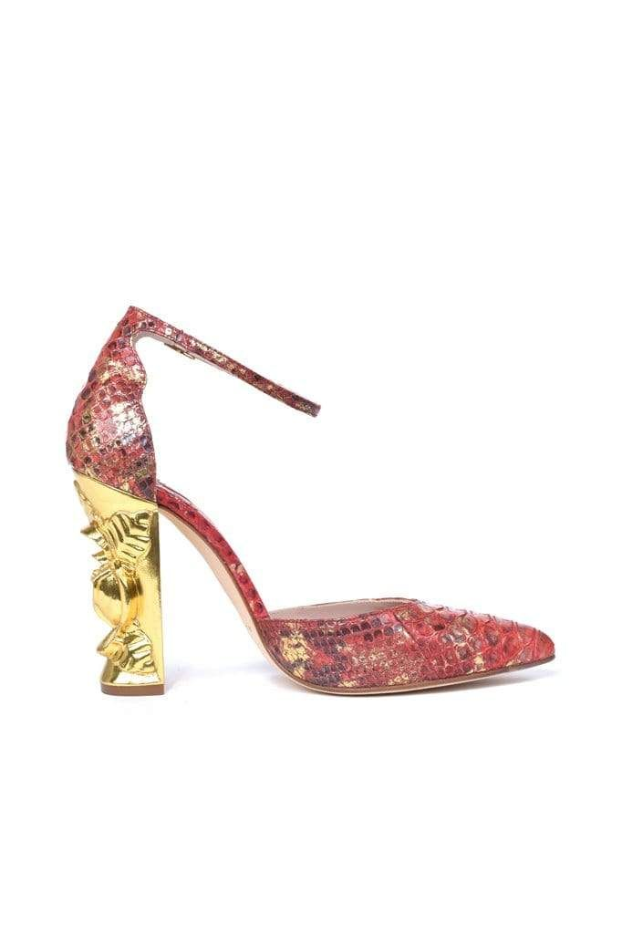 Carbonel Red & Gold Python Pump