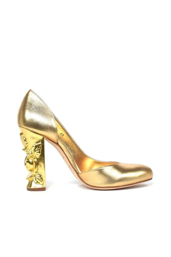 Murillo Gold Leather Open Side Pump - BYTRIBUTE