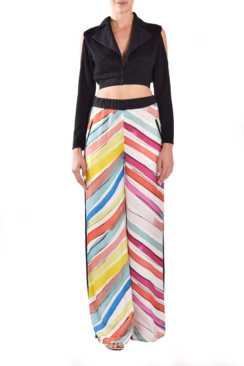 Multicolor Silky Trouser With Black Stripes - BYTRIBUTE