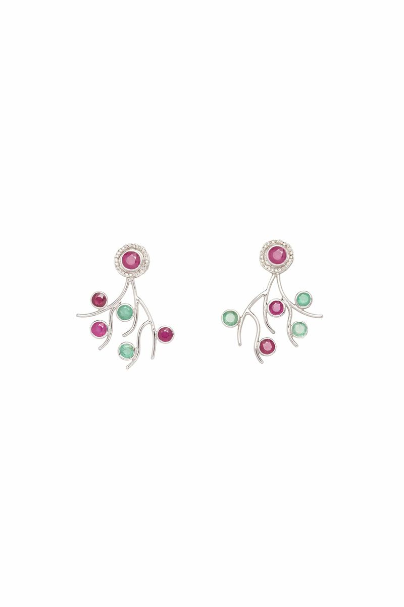 Emerald And Ruby Tree Earrings - BYTRIBUTE