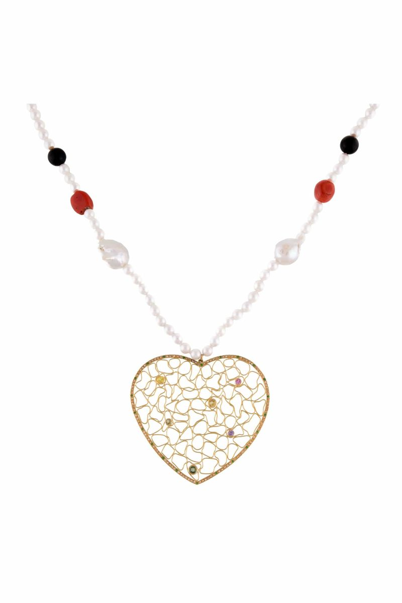 Pearl Necklace With Heart - BYTRIBUTE