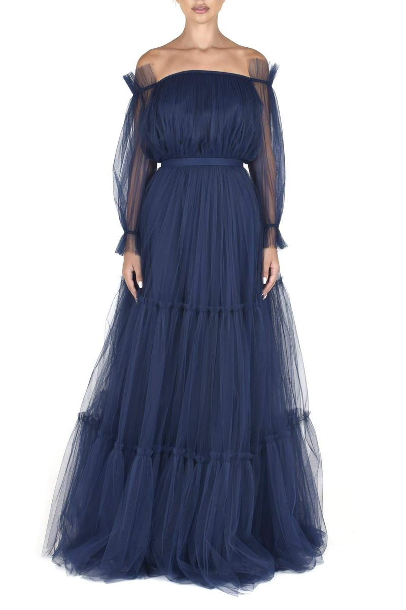 Dark Blue Tulle Dress - BYTRIBUTE