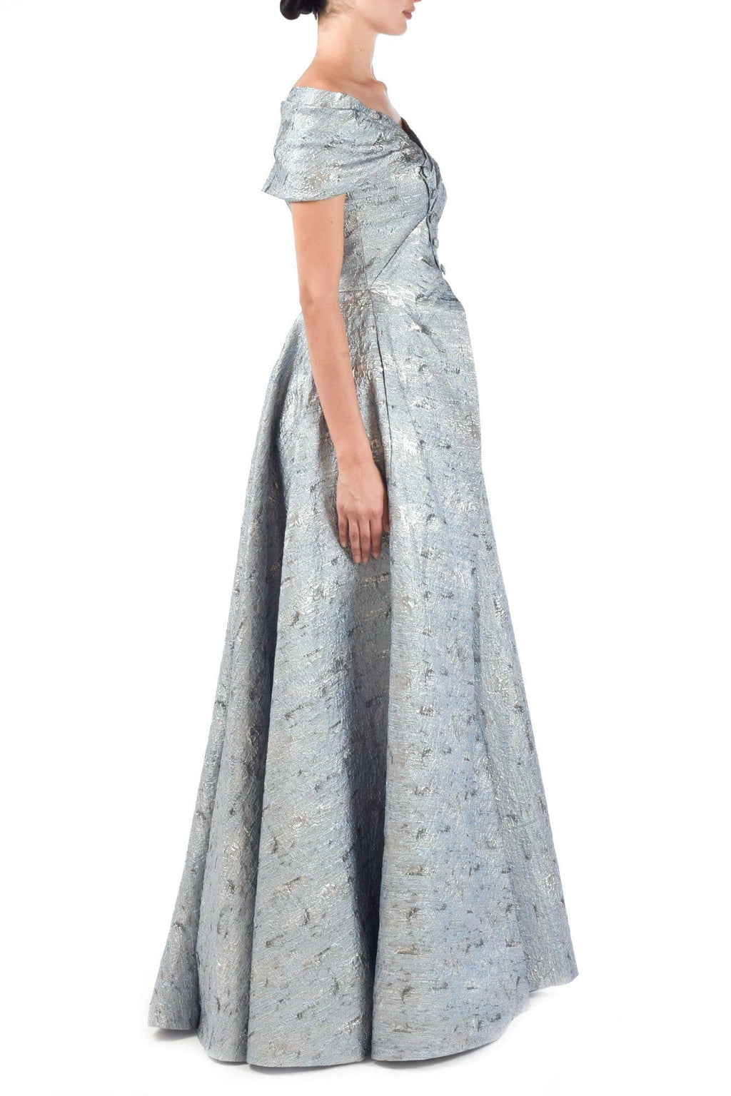 Silver Jacquard Pleated Gown - BYTRIBUTE