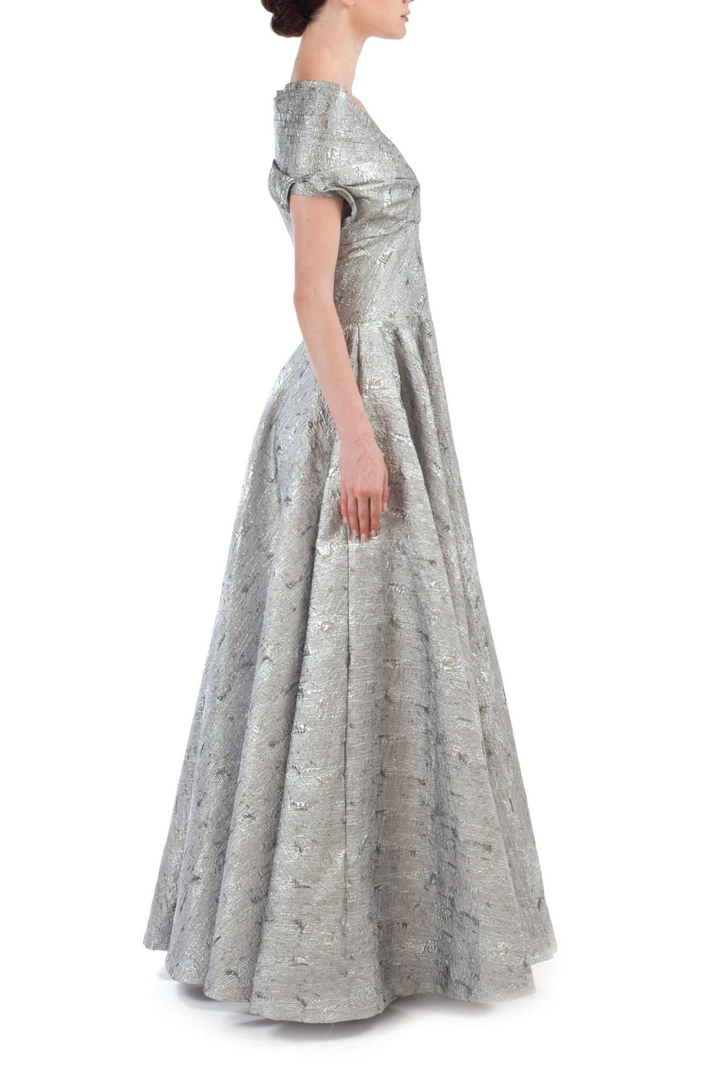 Silver Jaquard Gown - BYTRIBUTE