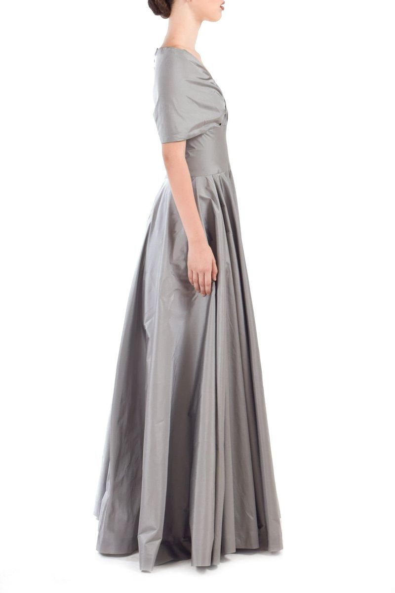 Grey Taffeta Gown - BYTRIBUTE