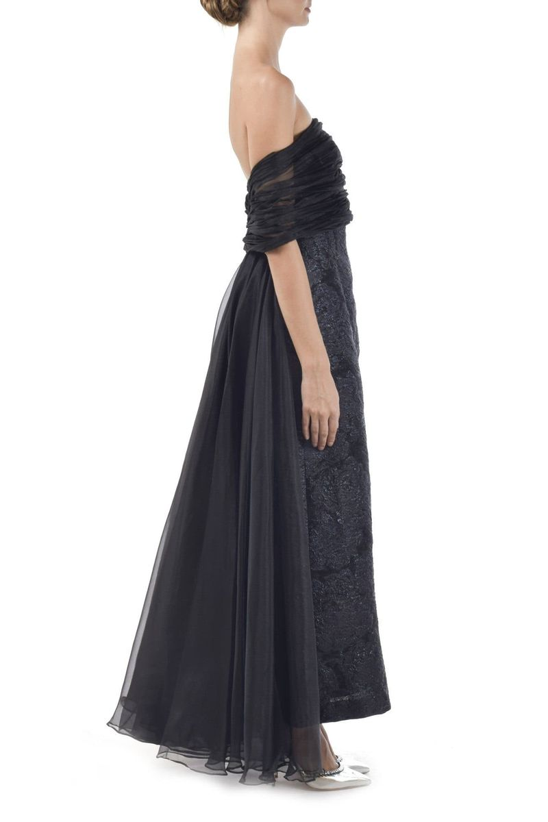Black Jaquard & Organza Gown - BYTRIBUTE