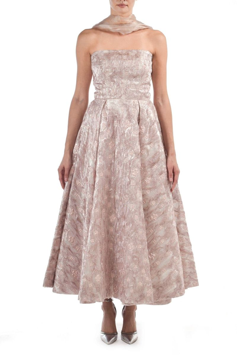 Pink Jaquard & Organza Dress - BYTRIBUTE