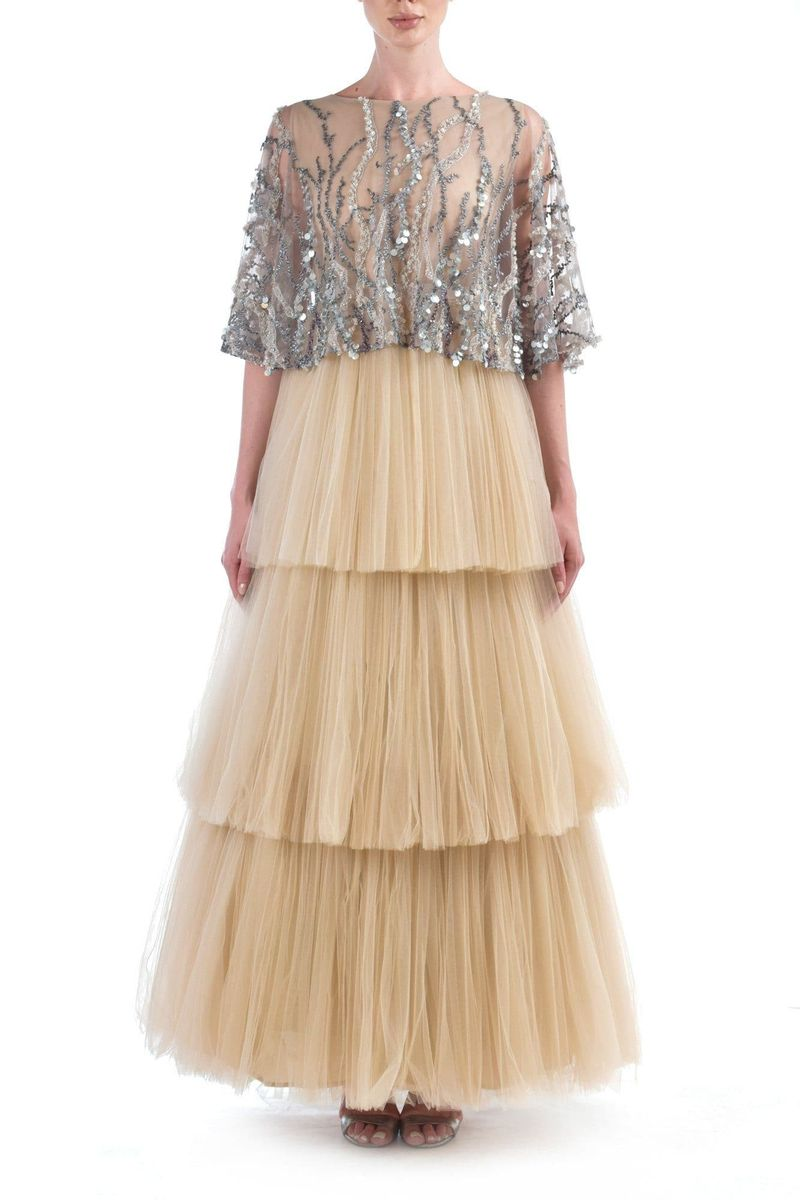 Beige & Silver Sequins Tulle Dress - BYTRIBUTE