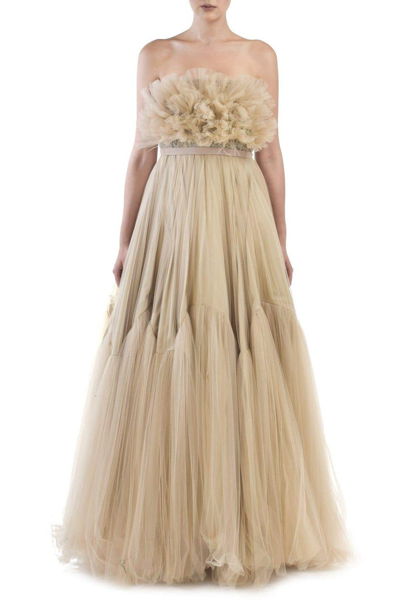 Beige Tulle Gown - BYTRIBUTE