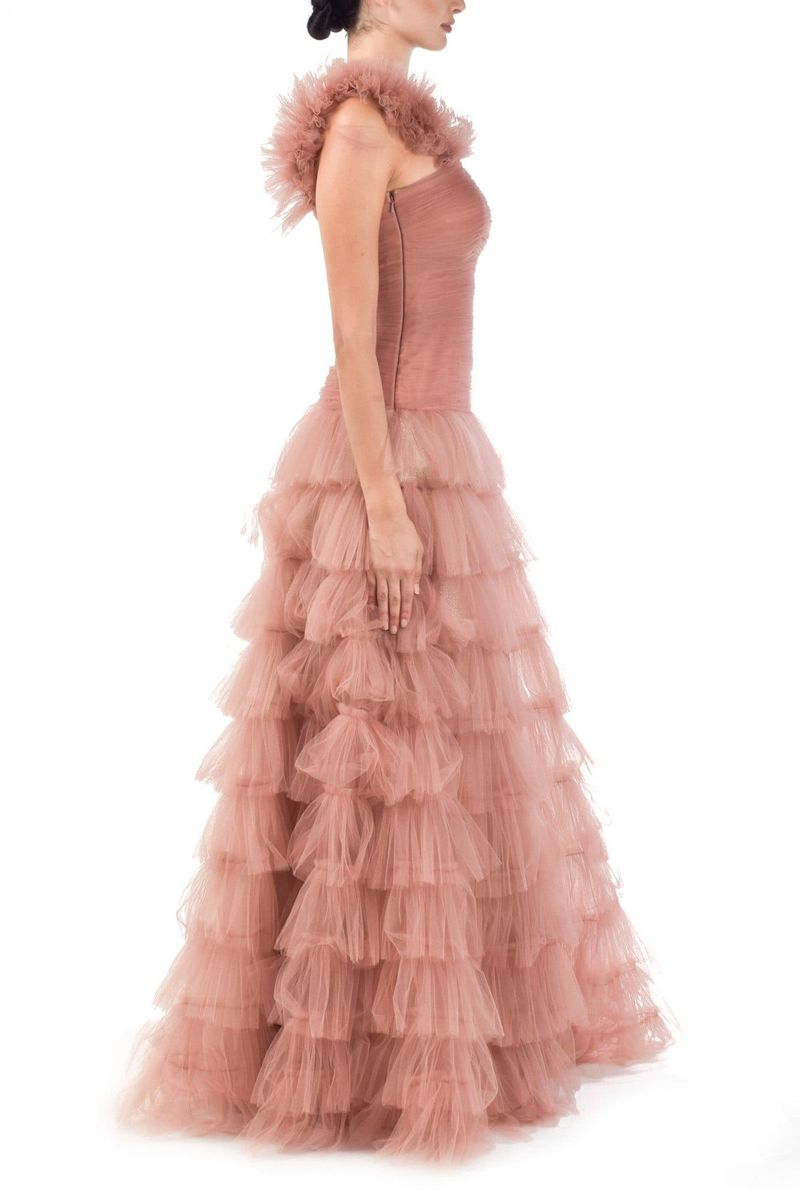 Pink Tulle Layered Gown - BYTRIBUTE