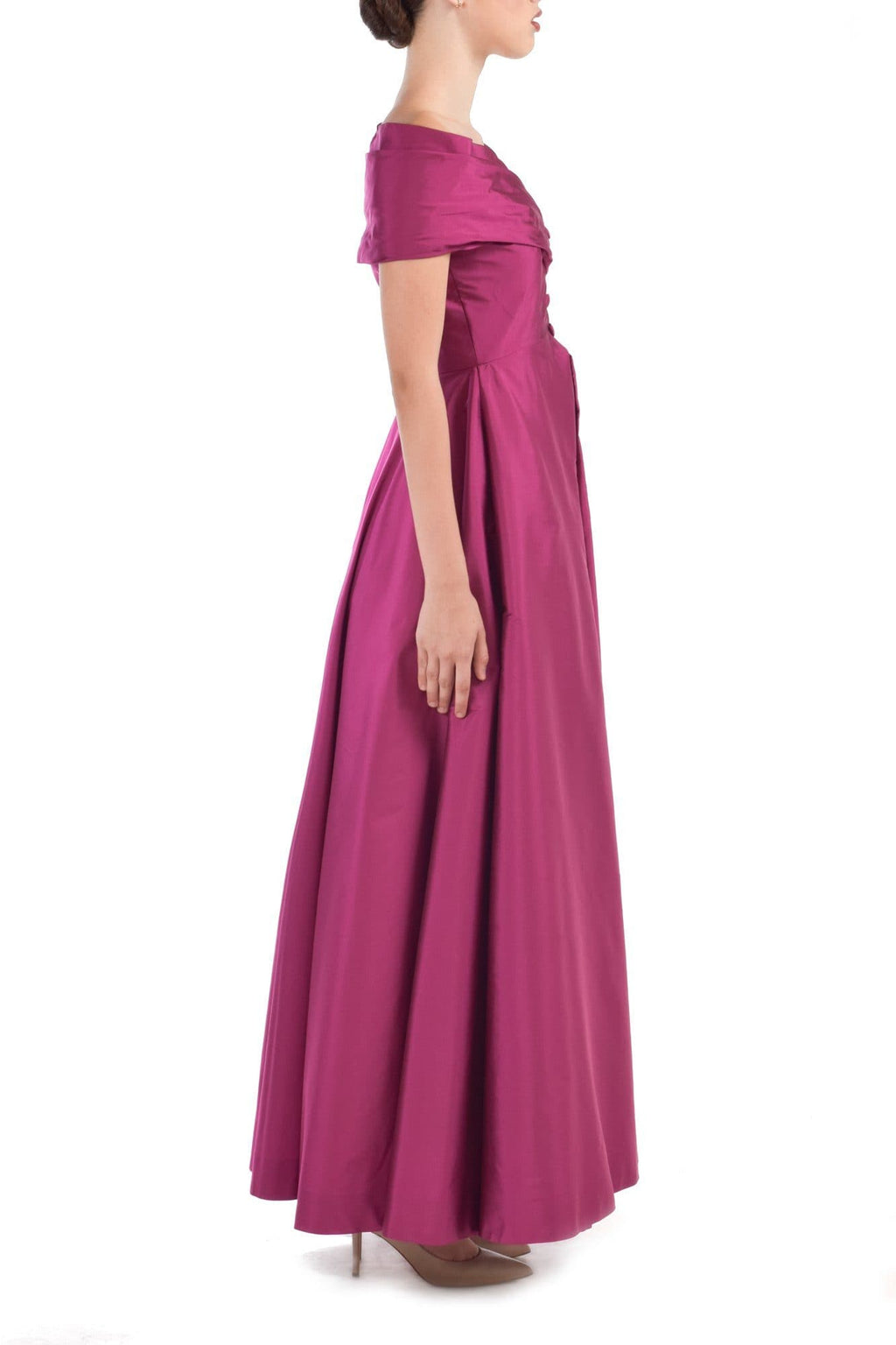 Pink Off Shoulders Taffeta Gown - BYTRIBUTE