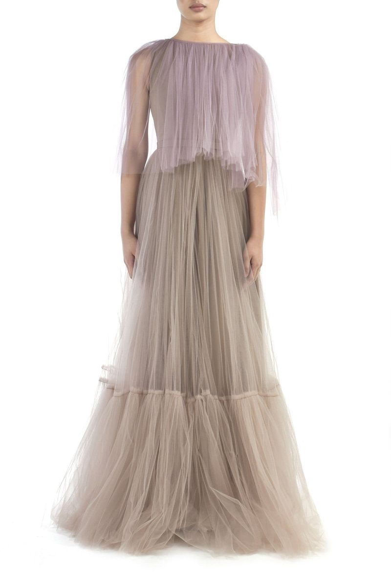 Pink & Beige Tulle Gown - BYTRIBUTE