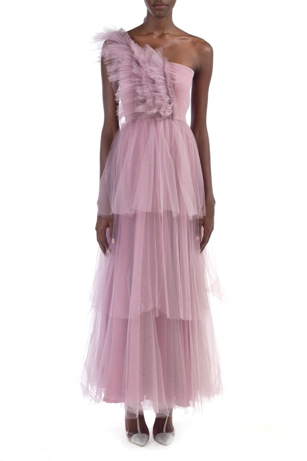 Pink One Shoulder Layered Tulle Gown - BYTRIBUTE