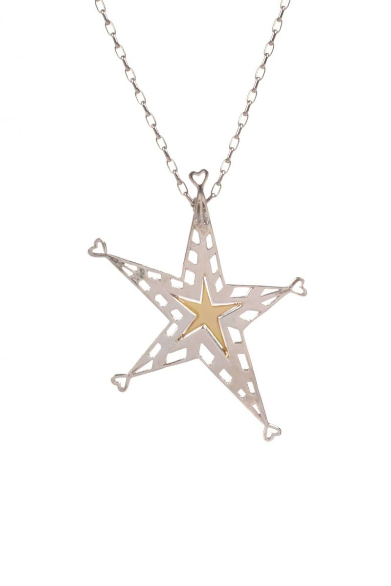 Gold & Silver Star Handmade Pendant With Sterling Silver Chain