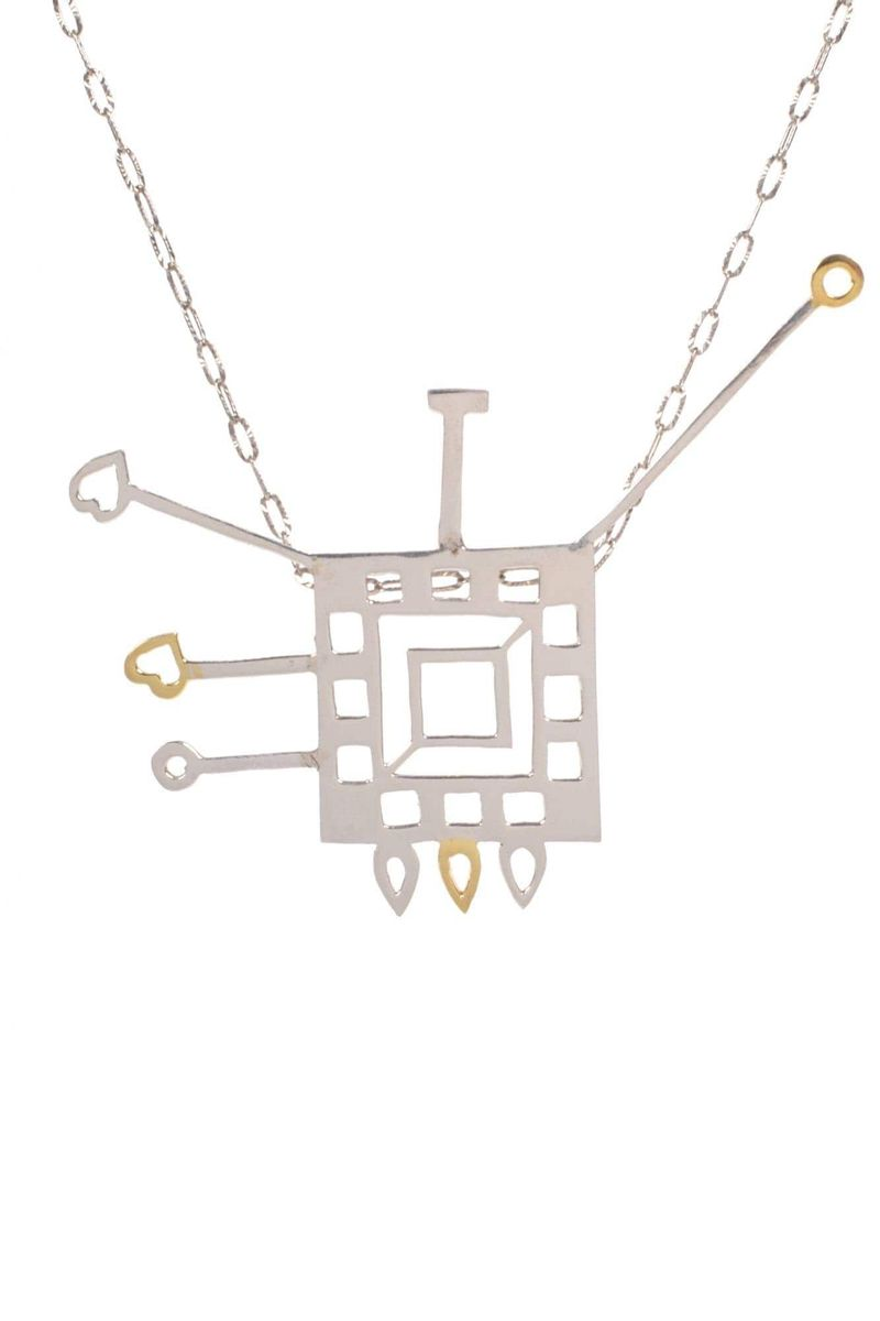 18 Karat Gold & Sterling Silver Square Shaped Pendant With Chain