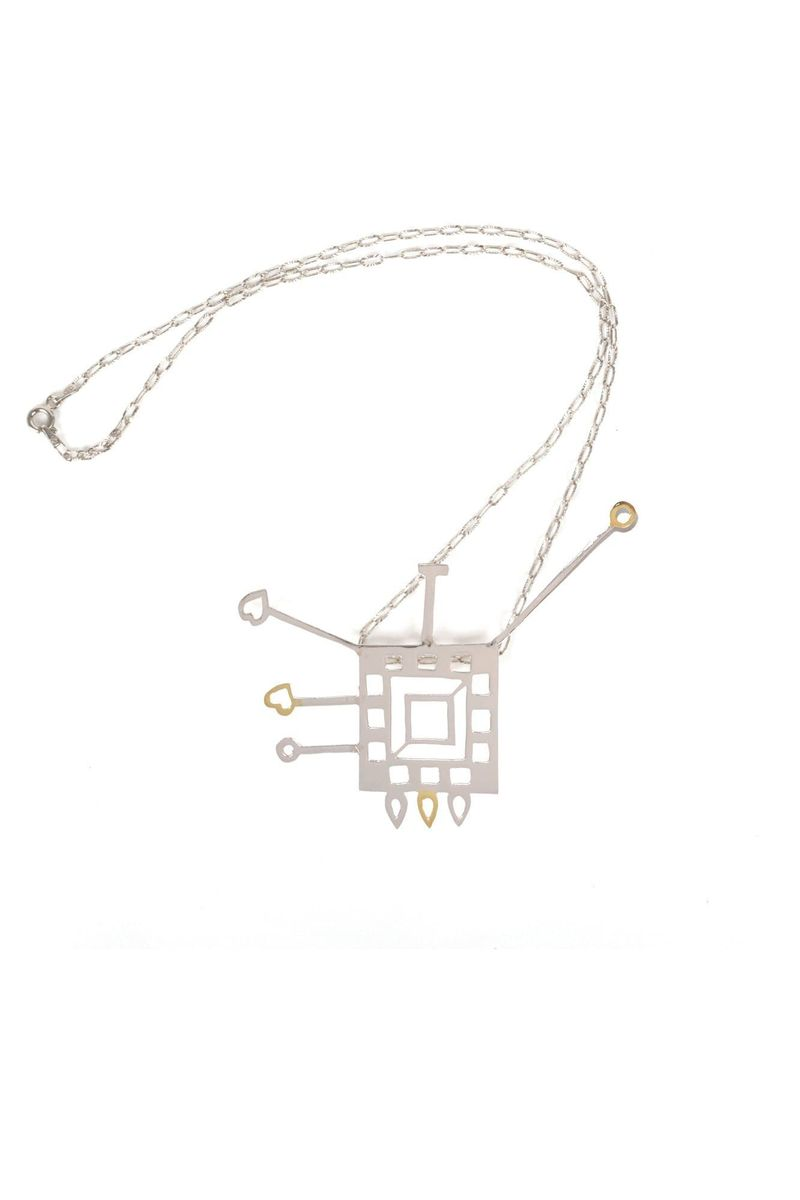 18 Karat Gold & Sterling Silver Square Shaped Pendant With Chain - BYTRIBUTE
