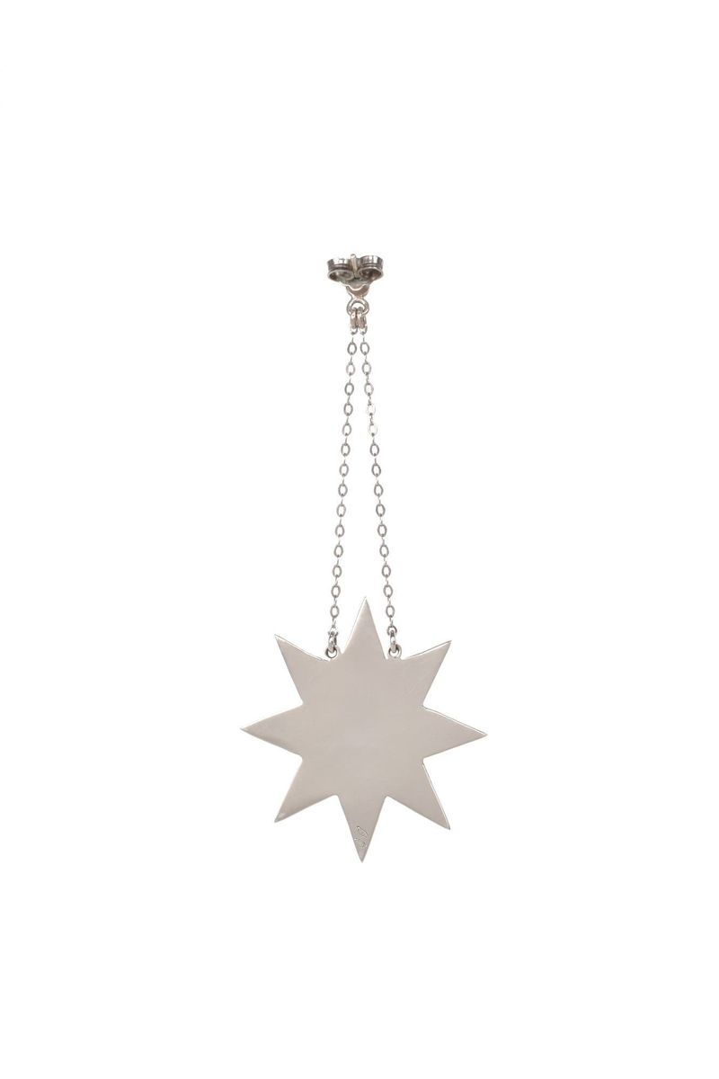 18 Karat Gold & Silver With Black Lacquer Handmade Star & Square Shaped Earrings - BYTRIBUTE