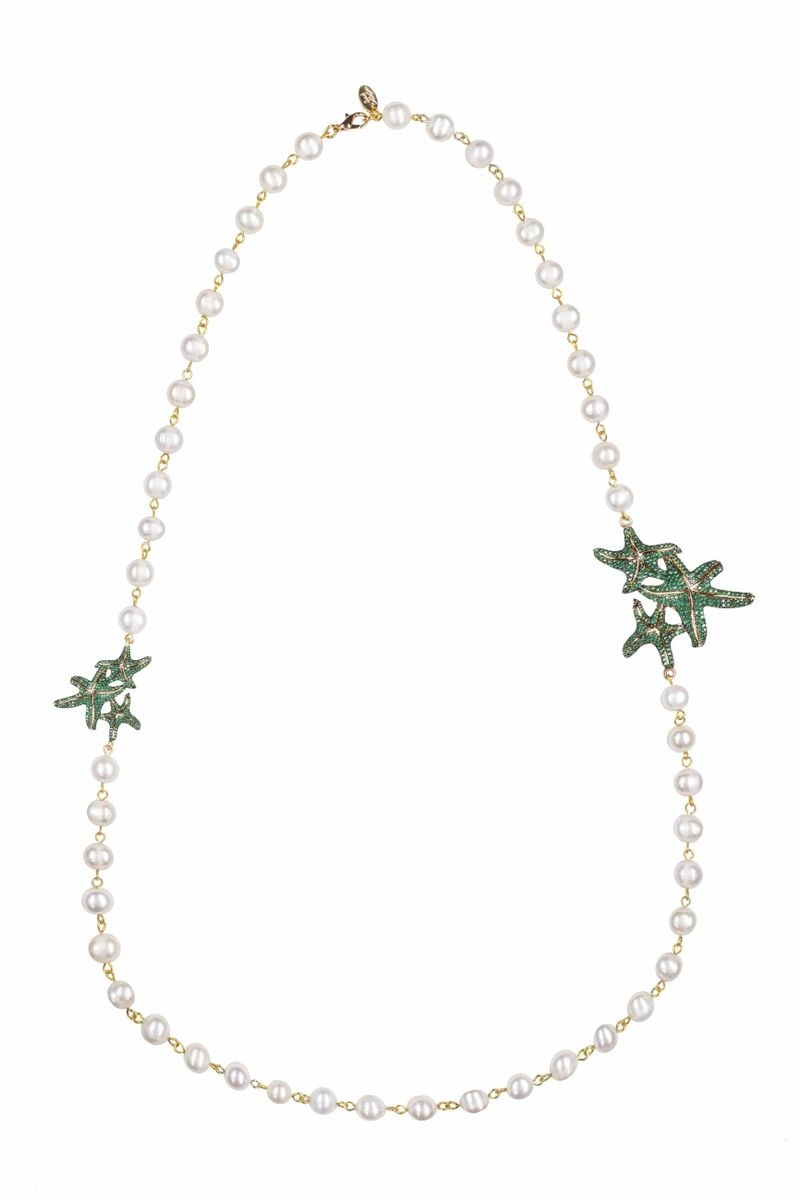Asteroidea Emerald Green Pearl Necklace