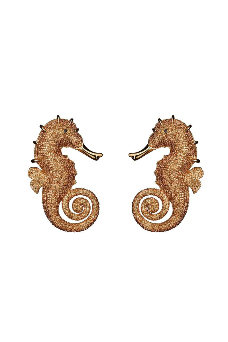 Seahorse Champagne Earrings - BYTRIBUTE