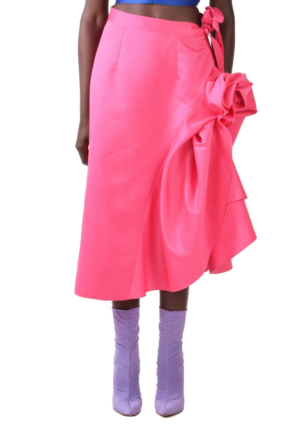 Pink Midi A-line Skirt With Moulage Ruffles - BYTRIBUTE