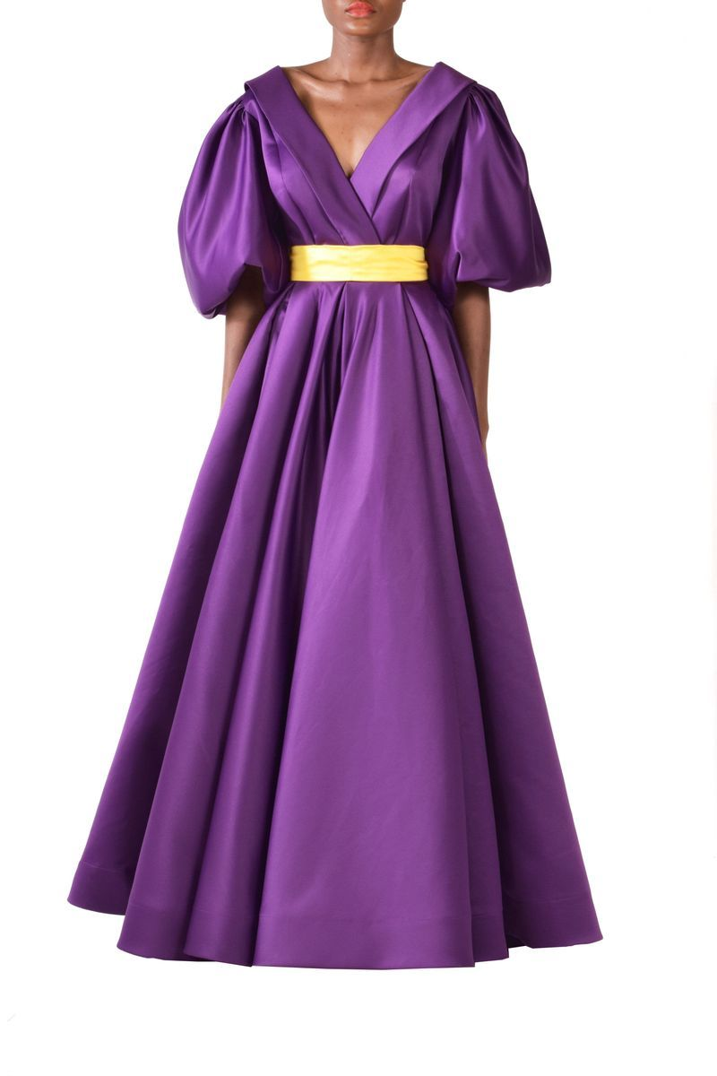 Long Purple Satin Taffeta Dress With Ruffles & Yellow Detachable Belt - BYTRIBUTE